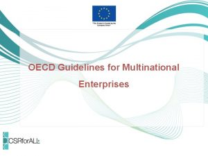 OECD Guidelines for Multinational Enterprises What are the