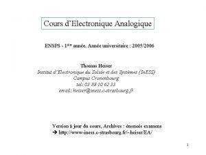 Cours dElectronique Analogique ENSPS 1 ire anne Anne