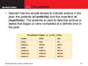 2 1 The preterite Spanish has two simple