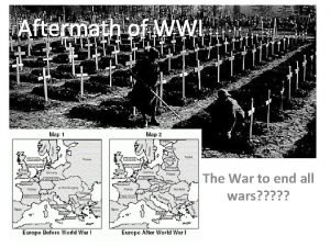 Aftermath of WWI The Aftermath of World War