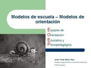 Modelos de escuela Modelos de orientacin Equipos de