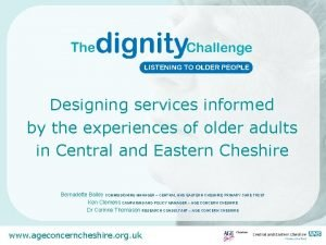 Designing services informed by the experiences of older