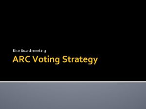 Rice Board meeting ARC Voting Strategy ARC Voting