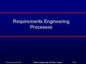 Requirements Engineering Processes Ian Sommerville 2004 Software Engineering