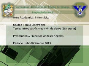 rea Acadmica Informtica Unidad I Hoja Electrnica Tema