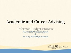 Academic and Career Advising Informed Budget Process FY