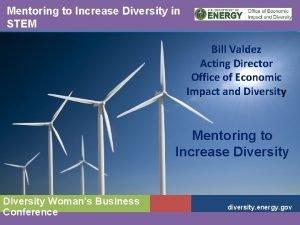 Mentoring to Increase Diversity in STEM Bill Valdez