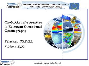 OPe NDAP infrastructure in European Operational Oceanography T