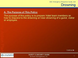 600 Emergency Response Guide 624 Drowning Emergency Action