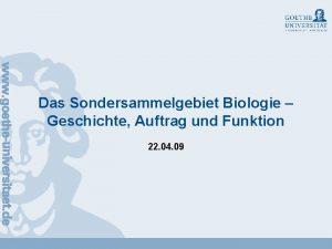 Das Sondersammelgebiet Biologie Geschichte Auftrag und Funktion 22