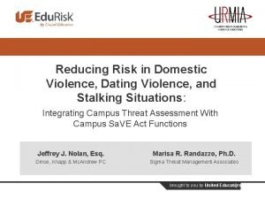 Reducing Risk in Domestic Violence Dating Violence and