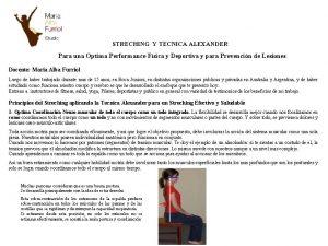 STRECHING Y TECNICA ALEXANDER Para una Optima Performance