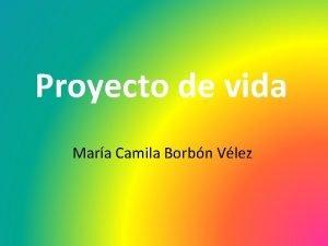 Proyecto de vida Mara Camila Borbn Vlez Mis