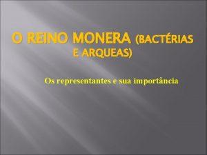 O REINO MONERA BACTRIAS E ARQUEAS Os representantes