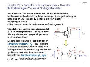 Lindem 252 2008 En enkel BJT transistor brukt