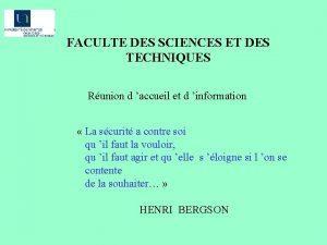 FACULTE DES SCIENCES ET DES TECHNIQUES Runion d