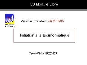 L 3 Module Libre Anne universitaire 2005 2006