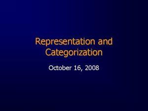 Representation and Categorization October 16 2008 Representation any