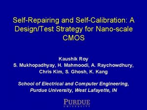 Self Repairing and Self Calibration A DesignTest Strategy