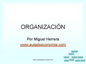 ORGANIZACIN Por Miguel Herrera www auladeeconomia com ORGANIZACIN