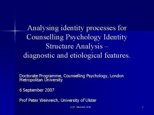 Analysing identity processes for Counselling Psychology Identity Structure