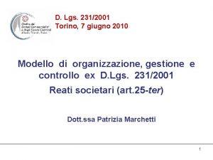 D Lgs 2312001 Torino 7 giugno 2010 Modello