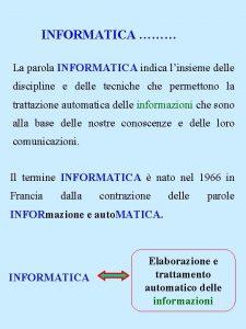 INFORMATICA La parola INFORMATICA indica linsieme delle discipline