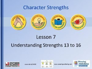 Character Strengths Lesson 7 Understanding Strengths 13 to