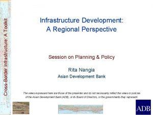 CrossBorder Infrastructure A Toolkit Infrastructure Development A Regional