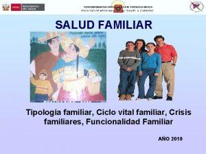 SALUD FAMILIAR Tipologa familiar Ciclo vital familiar Crisis