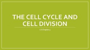 THE CELL CYCLE AND CELL DIVISION LS Chapter