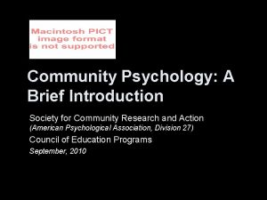 Community Psychology A Brief Introduction Society for Community