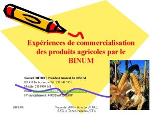 Expriences de commercialisation des produits agricoles par le