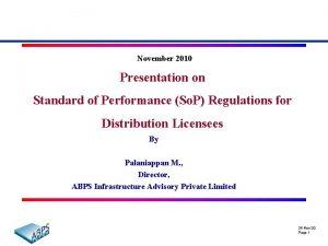 November 2010 Presentation on Standard of Performance So
