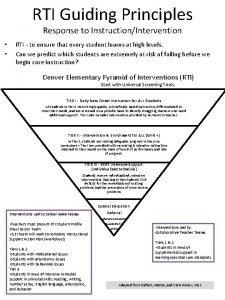 RTI Guiding Principles Response to InstructionIntervention RTI to