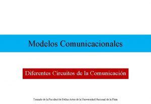 Modelos Comunicacionales Diferentes Circuitos de la Comunicacin Tomado