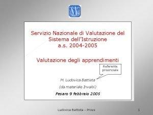 INVal SI Servizio Nazionale di Valutazione del Sistema