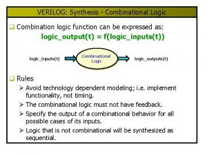 VERILOG Synthesis Combinational Logic q Combination logic function
