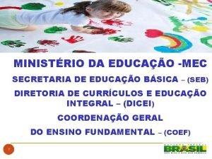MINISTRIO DA EDUCAO MEC SECRETARIA DE EDUCAO BSICA