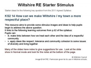 Wiltshire RE Starter Stimulus Starter ideas for the