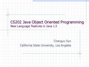 CS 202 Java Object Oriented Programming New Language