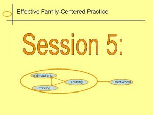 Effective FamilyCentered Practice Individualizing Teaming Thinking Effectiveness Family