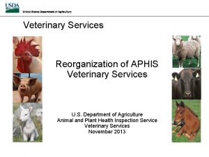 Veterinary Services Reorganization of APHIS Veterinary Services U