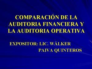 COMPARACIN DE LA AUDITORIA FINANCIERA Y LA AUDITORIA