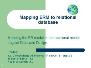 Mapping ERM to relational database Mapping the ER