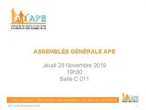 ASSEMBLE GNRALE APE Jeudi 28 Novembre 2019 19