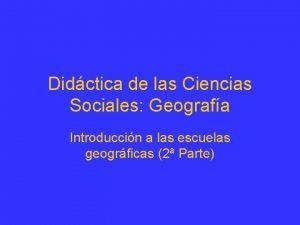 Didctica de las Ciencias Sociales Geografa Introduccin a