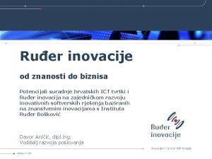 Ruer inovacije od znanosti do biznisa Potencijali suradnje