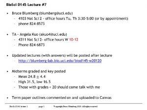 Bio Sci D 145 Lecture 7 Bio Sci