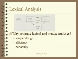 Lexical Analysis 4 Why separate lexical and syntax